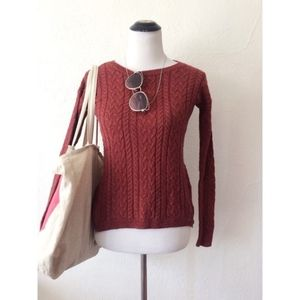 AEO burnt orange crew neck light knit sweater